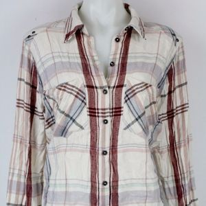Free People Ivory Plaid Long Sleeve Size Small